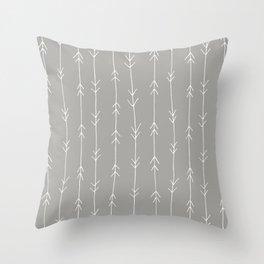 Grey, Fog: Arrows Pattern Throw Pillow