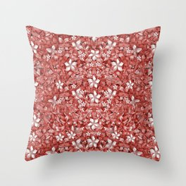 Flowers Pattern Collage in Coral an White Colors Throw Pillow