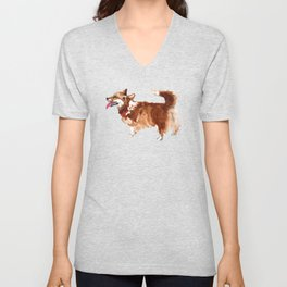 watercolor dog vol 15 corgi Unisex V-Neck