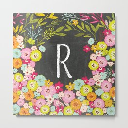 R botanical monogram. Letter initial with colorful flowers on a chalkboard background Metal Print