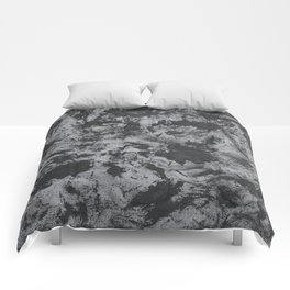 Black Ink on Grey/Gray Background Comforters