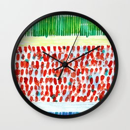 Joyful Stacked Patterns in High Format Wall Clock