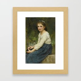 "William-Adolphe Bouguereau ""Young girl with grapes (Jeune fille aux raisins)"" Framed Art Print"