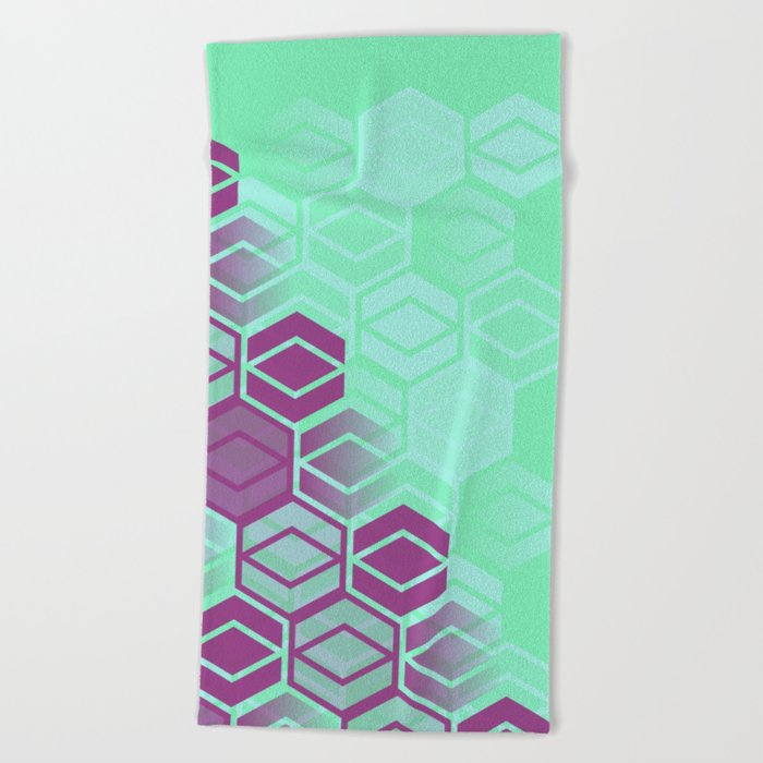 Purple on Mint Beach Towel