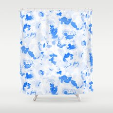AbstractFlora Lapis Blue Shower Curtain