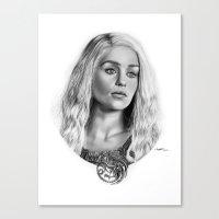 targaryen Canvas Prints featuring Daenerys Targaryen by Mutemouia