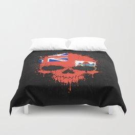Flag of Bermuda on a Chaotic Splatter Skull Duvet Cover
