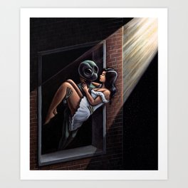 Stranger In The Night Painting Art Print