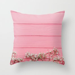 Baby's Breath x Candy Pink Wood Throw Pillow
