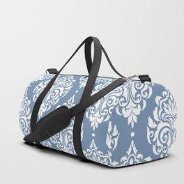 Sky Blue Damask Duffle Bag