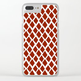 Rhombus Red And White Clear iPhone Case