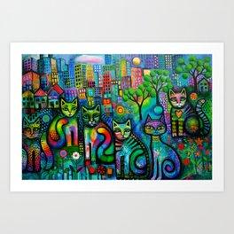 Metropolitan Cats Art Print
