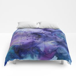 Abstract Watercolor, Ink Prints, Indigo, Blue, Purple Comforters