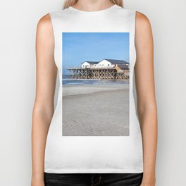 House on stilts at the beach of St. Peter Ording Biker Tank