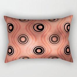 Pantone Living Coral, Bold Circle Rings & Wavy Line Pattern Rectangular Pillow