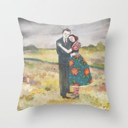 nigel and lily embrace as the storm passes by Throw Pillow