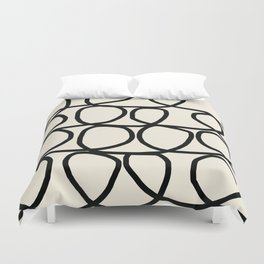 Loop Di Doo Cream & Black Duvet Cover