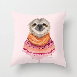 S is for a Sloth in a Scarf and Sweater   Watercolor Sloth Throw Pillow