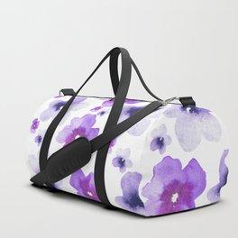 Modern purple lavender watercolor floral pattern Duffle Bag