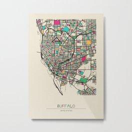 Colorful City Maps: Buffalo, New York Metal Print
