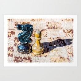 Chess Pawn and Knight - Veterans Art Print