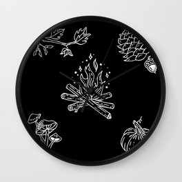 Autumnal Themed Illustration Wall Clock