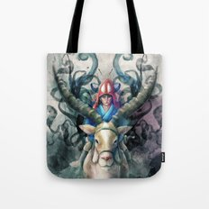 Ashitaka Demon Watercolor Digital Painting Tote Bag