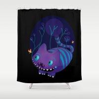 cheshire Shower Curtains featuring Cheshire by Maria Jose Da Luz