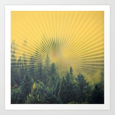 Golden Rays Forest #society6 Art Print