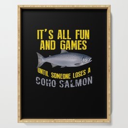Funny Coho Salmon Fishing Angler Gift Serving Tray