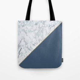 Elegant mauve blue white marble faux gold geometric Tote Bag