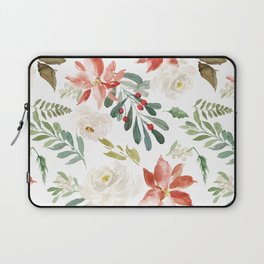 White roses & rusty-red Christmas poinsettia pattern Laptop Sleeve