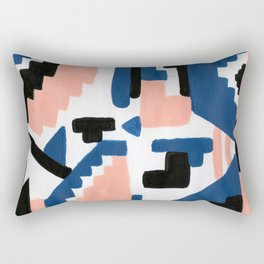 Geometric Aztec - coral and lapis Rectangular Pillow