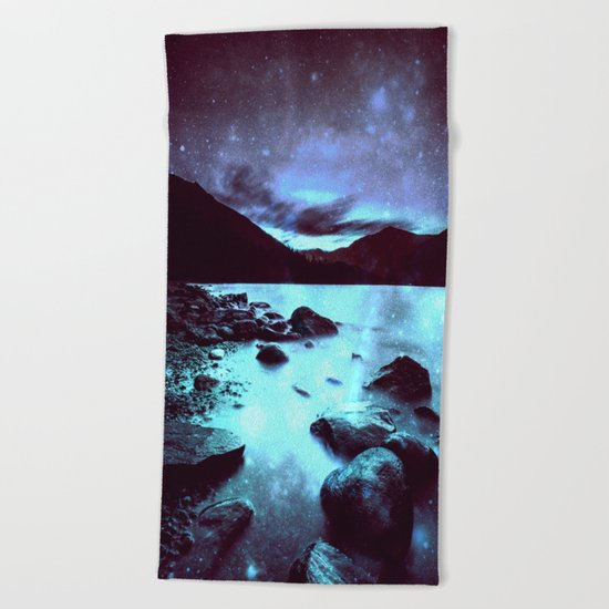 Magical Mountain Lake Violet Aqua Beach Towel