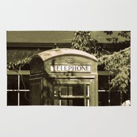 telephone Area & Throw Rugs featuring Telephone by Irène Sneddon