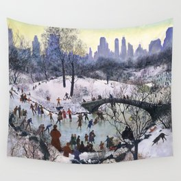 Vintage Central Park Skating Painting Wall Tapestry
