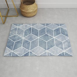 Geometric Art, Blue, Marble Prints, Art for Walls Rug