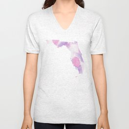 Watercolor State Map - Florida FL colorful Unisex V-Neck