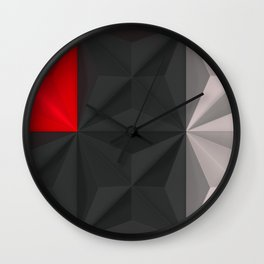 Pattern of black, white and red pyramid tiles Wall Clock