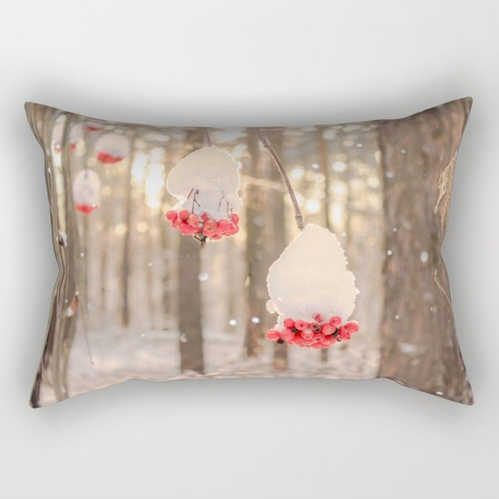 Rowan berries in the snow Rectangular Pillow