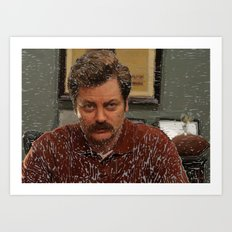Ron Swanson, Nick Offerman, Parks and recreation Art Print