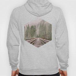Geometric railroad and trees illustration Hoody