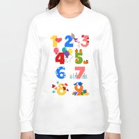 numbers Long Sleeve T-shirts featuring numbers by Alapapaju