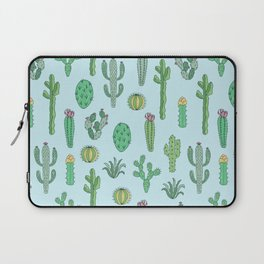 Cactus Pattern Light Blue Laptop Sleeve