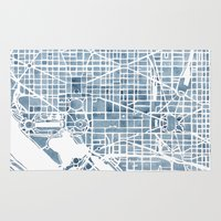 blueprint Area & Throw Rugs featuring Washington DC Blueprint watercolor map by Anne E. McGraw