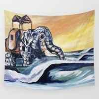 lucy Wall Tapestries featuring Lucy The Surfing Elephant by J.Schmidt