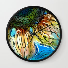 Sunflower Blues by Barbara Chichester Paintographer Wall Clock