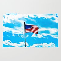 american flag Area & Throw Rugs featuring American Flag by Taylor