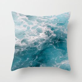 Foamy crystal clear, deep blue sea water   Travel photography from Greece   Natural surface pattern.  Throw Pillow