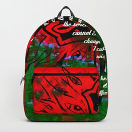 Serenity Prayer Inspirational Quote With Creative Motivational Art Backpack